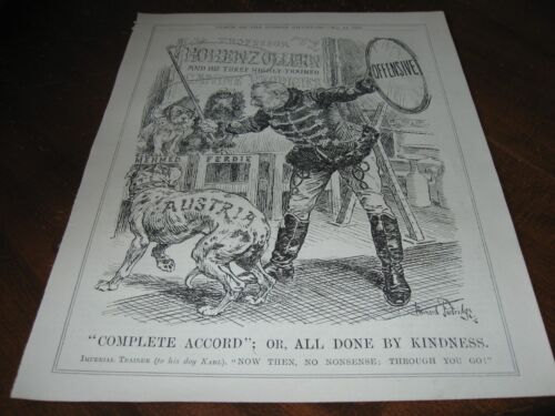 1918 Original POLITICAL CARTOON - WWI German Kaiser w CIRCUS ACT Trained Dogs