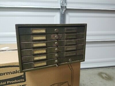 Vintage 6 Drawer Metal Storage Cabinet Industrial Punch Card Flat File
