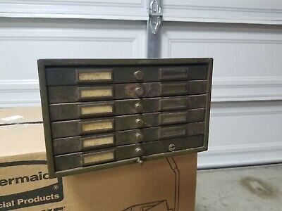 Vintage 6 Drawer Metal Storage Cabinet Industrial Punch Card Flat File