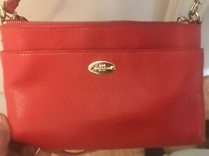 Coach Madison Leather SwingPack CrossBody Pink Ruby Purse Bag