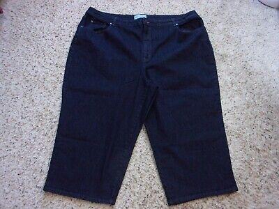 Denim-stretch-capris (Kim Rogers Dark Denim Stretch Capris Cropped Jeans~Pocket Bling~24W~EUC)