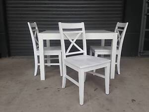 EXTENSION DINING TABLE + 3 WHITE FREEDOM VERMONT DINING CHAIRS Strathfield Strathfield Area Preview
