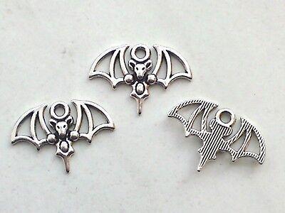 7x Anhänger Fledermaus 15x21mm Charm Gothic Vampir Halloween Schmuck Deko Bastel