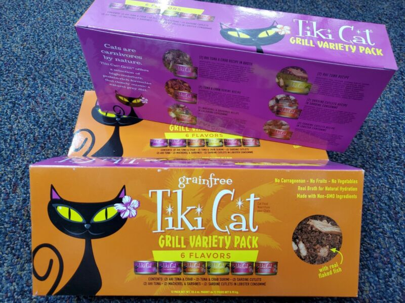 2X Tiki Cat Grill Grain-Free, Low-Carbohydrate Wet Food (24 Total Cans)