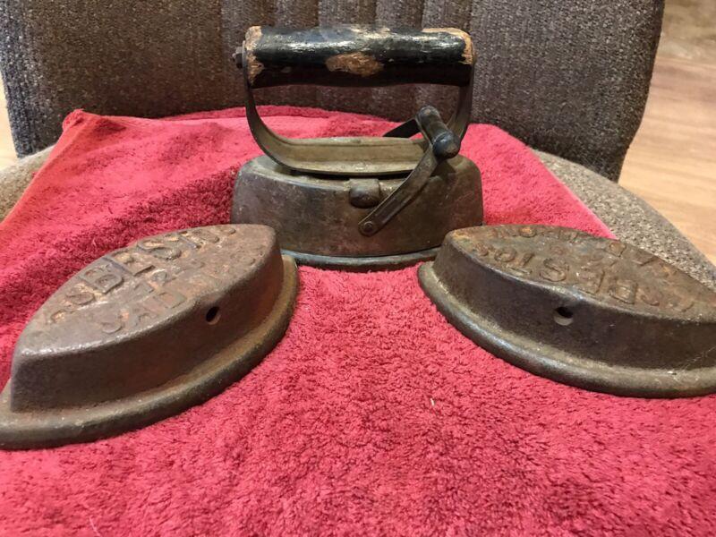 Vintage Asbestos Sad Iron. 3 Irons - 72-B 1 Wood Handle
