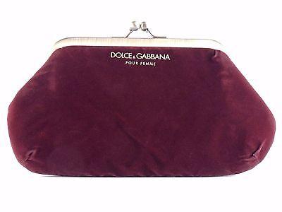 DOLCE & GABBANA POUR FEMME VELVET SATIN RED MAROON BURGANDY CLUTCH PURSE NEW
