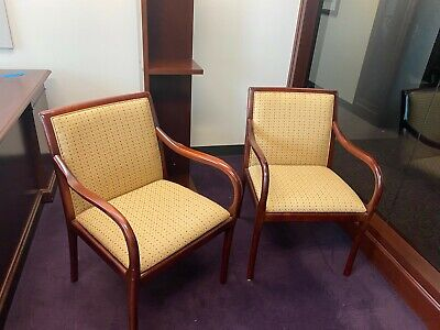 Guestside Chair By Bernhardt Office Furniture W Cherry Color Wood Frame