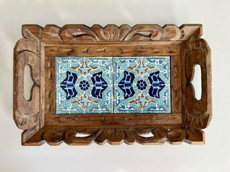 Vintage Mexican 2 Tile Trivet Serving Tray Hand Carved/Painted 13.5x9 Inches