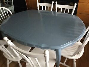 Large Jean blue dining table w/ 6 chairs