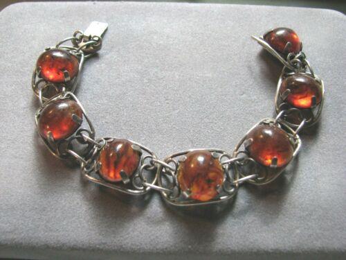 """Vintage 925 Sterling Silver & Genuine Baltic Amber Link Bracelet 7"""" Long 22.2g"""