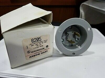 Male Base 20Amp-250Volt 2-P 3-W Grounding Bryant L6-20FI Locking Flanged Inlet