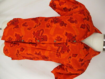 Connies Fashions Vtg 60s Mens Red Floral Hawaiian Shirt L