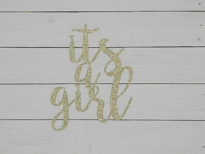 Its a Girl cake topper, Glitter, Baby Shower, Party Supplies