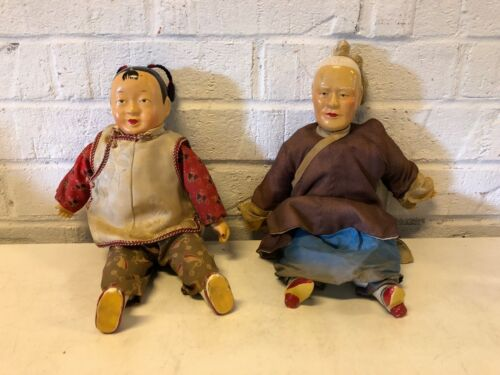Vintage Chinese Family Generations Grandfather & Grandson Pair of Dolls