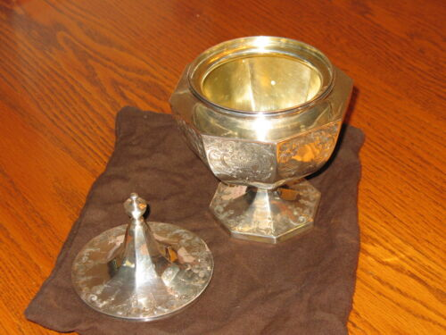Antique HARRIS and SHAFER CO. covered pedestal candy dish bowl Sterling Silver