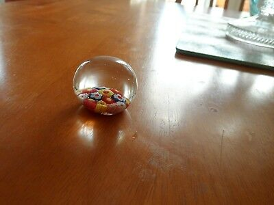 Small millefiori paperweight with multi coloured canes