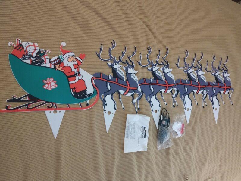 Vtg Christmas Lighted Lawn Yard Decor Santa Sleigh 8 Reindeer