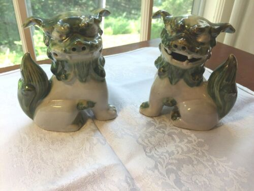 Pair Vintage Chinese Asian Ceramic Foo Dogs Foo Lions