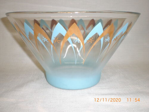VTG HAZEL ATLAS  GLASS ATOMIC TURQUOISE & GOLD BOWL ARCHES & STARS DESIGN