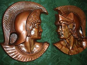 Spartan Head Pair Greek Roman Soldier Art Wall Decor