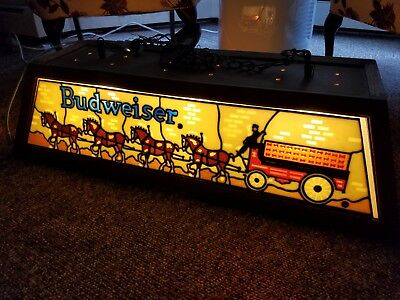 RARE FIND Budweiser Clydesdale Stained Glass Looking Pool Table - Budweiser clydesdale pool table light