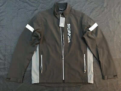 Scania Jacket Trucker Gear Reflective Black Zip Up Size L NWT