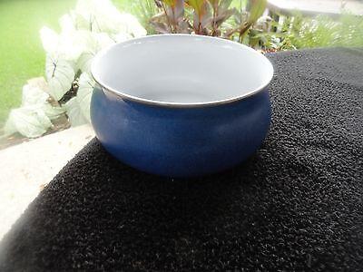 Denby Imperial Blue White Center Brown Rim Round Blue Serving Bowl - Imperial Blue Rim