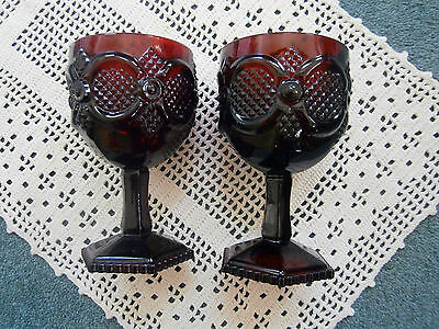 Ruby Red Vintage Goblets (2) Wine or Water AVON Cape Cod