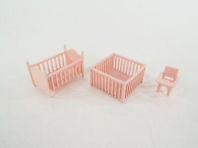 Vintage Dollhouse Furniture Pink Nursery Lot Baby Bed Crib Playpen High Chair