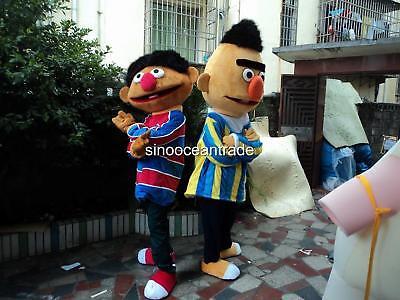 Bert Ernie Costumes Adults (Bert Ernie Sesame Street Mascot Costume Cosplay Suit Fancy Dress Outfits)