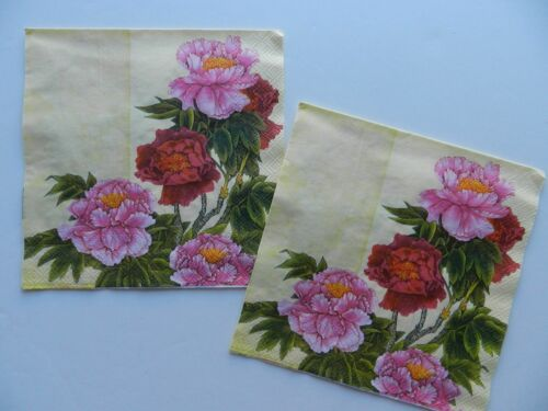 2 (Two) Single Lunch Size Paper Napkins Decoupage Craft Peony