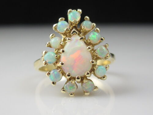 Retro Opal Ring 14K Yellow Gold Cluster Pear Mid Century Estate Fine Jewelry