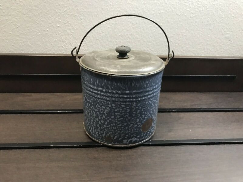 Antique Enamelware Blue And White Spec Berry Bucket/ Lunch Bucket