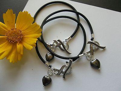 3 Melanoma Cancer Awareness Bracelets With Ribbon Toggle Clasp