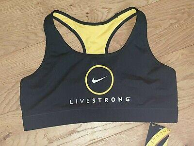 Nike Crop Sports Bra Top Livestrong Running Fitness Gym 428937 UK L Biro Mark QQ