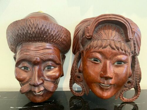 Vintage Pair of Chinese Hand Carved Wood Masks Wall Decor