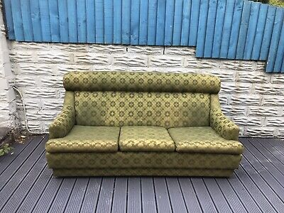 Vintage Parker Knoll Three Seater Settee Sofa Forest Green Stunning One Off