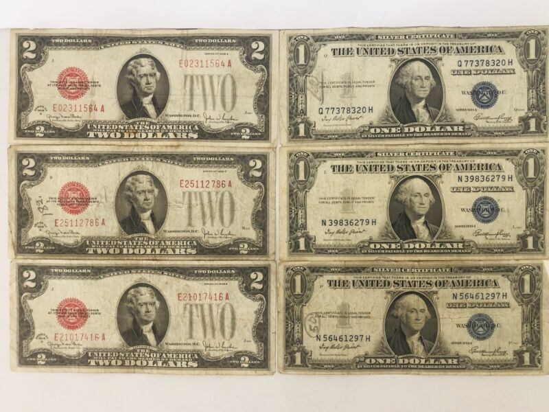 Old Banknotes (3) $2 1928g Red Seal, (3) $1 1935e Silver Certificate Lot Of 6