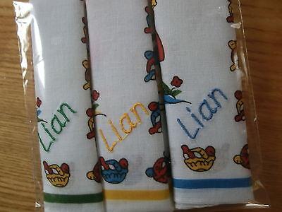 Taschentücher für Kinder 6x bunt,Doppelmonogramm o.Namensbestickung inklusive