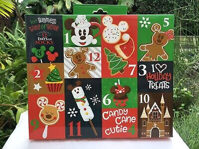 Disney Parks Advent Calendar 12 Days Of Socks Snack Icons Womens* Sizes 4-10 NWT
