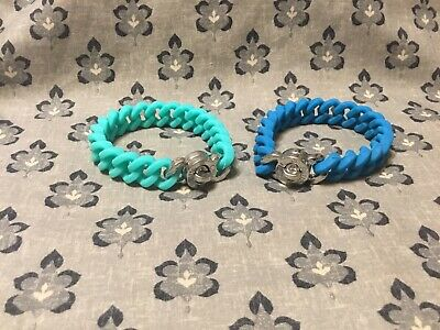 Rustic Cuff Bracelet Madison Blue/ Turquoise With Silver Tone RC Logo