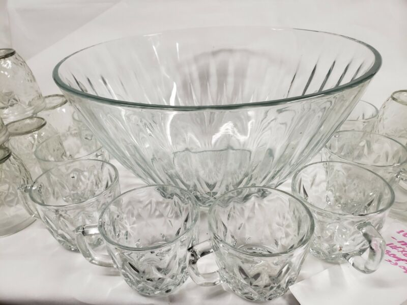 Vintage Pressed Glass Punch Bowl With 8 Cups / Plastic Hooks & Ladle