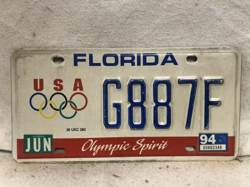 1994 Florida Olympic Spirit License Plate