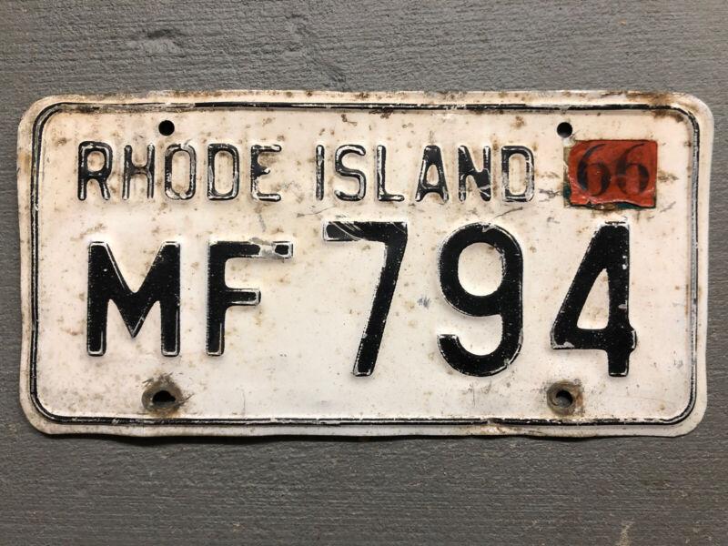 VINTAGE  RHODE ISLAND LICENSE PLATE WHITE/BLACK MF-794 1966 STICKER