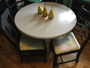 Grey dining table w/4 black chairs- available
