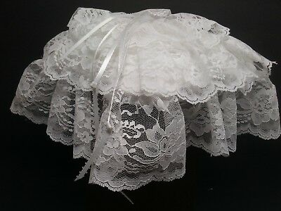 - Wedding Ring Bearer Pillow White Lace Floral Design 3 Layers Size 8