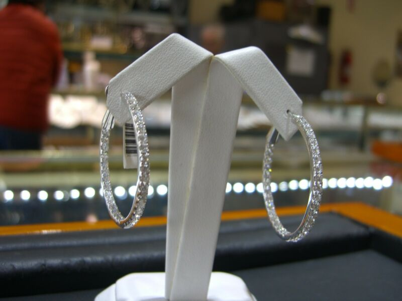 Fine 18 Karat White Gold Diamond Hoop Inside Outside Earrings 4.00 Carats New!!!