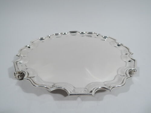 George V Salver - Antique Georgian Piecrust Tray - English Sterling Silver