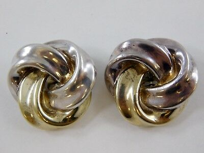 Vintage Signed Brian Bergner Swirl Knot Clip On Earrings 925 Sterling Silver