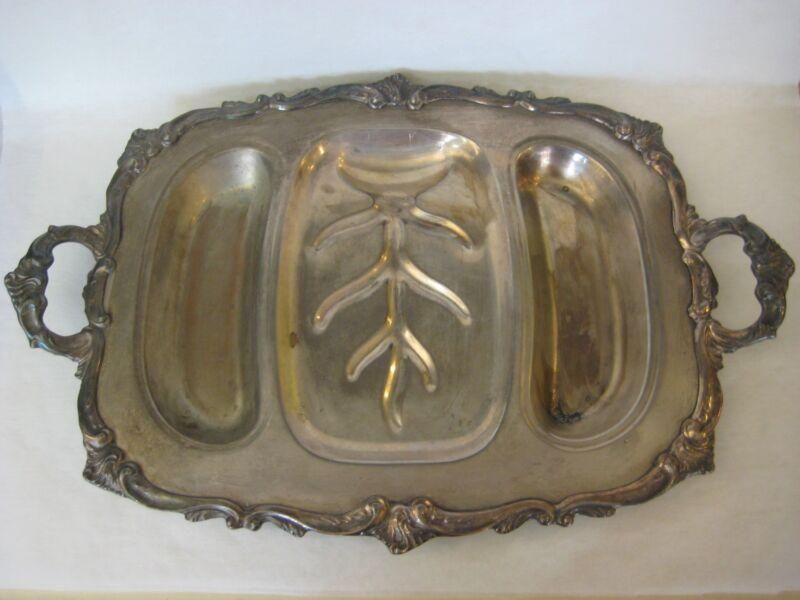 Large Vintage Heavy Silverplate Well-and-Tree Meat Platter, Hallmark